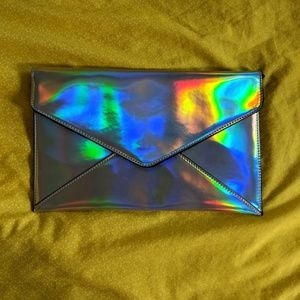 F21 holographic large envelope clutch rainbow